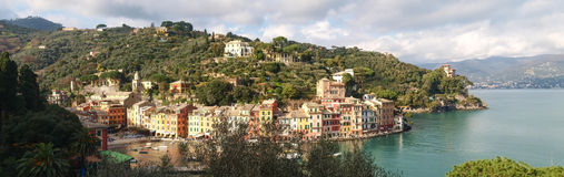 Portofino the tipical house at the Harbor Stock Images