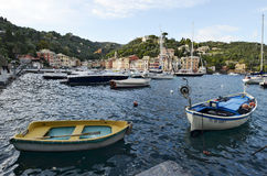 Portofino Tourist boats moored in the harbor Royalty Free Stock Photos