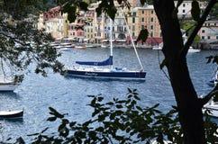 Portofino Tourist boats moored in the harbor Royalty Free Stock Photos