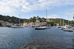 Portofino Tourist boats moored in the harbor Stock Photography