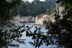 Portofino Tourist boats moored in the harbor Stock Photos