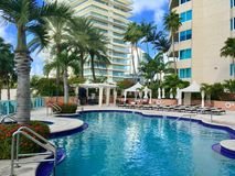 Portofino Towers pool, Miami Beach. Portifino Towers owners pool, apartments residential buildings in Miami Beach, Florida, USA Royalty Free Stock Image