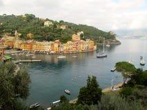 Portofino town port with sailboats. Portofino town, houses and port with sailboats stock photos