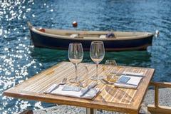 Portofino turist- semesterort av den Ligurian Rivieraen Arkivfoto