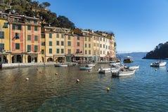Portofino turist- semesterort av den Ligurian Rivieraen Royaltyfri Bild