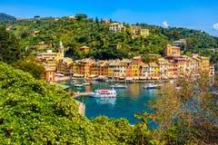 Portofino vibrant picturesque houses ligurian colourful town - Genoa - Italy Royalty Free Stock Photos