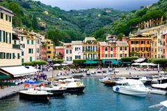 Portofino View From Water with Boats Stock Images