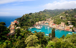 Portofino village. Aerial panorama of Portofino, Italy. View from Castle. Royalty Free Stock Image