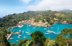 Portofino village. Aerial panorama of Portofino, Italy. View from Castle. Royalty Free Stock Photography