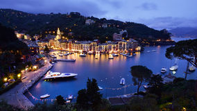 PORTOFINO VILLAGE ON THE COAST OF ITALY stock photos