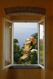 Portofino Window. A window with a view in Portofino in Italy stock photo