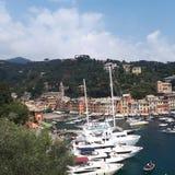 Portofinohaven, jachthaven, haven, hemel, haven royalty-vrije stock afbeeldingen
