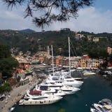 Portofinohaven, jachthaven, haven, waterweg, boot royalty-vrije stock foto