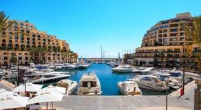 Portomaso bay, St.Julians, Malta. Portomaso bay at sunny day, St.Julians, Malta, EU Stock Photography