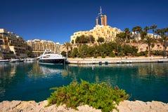 Portomaso, Malta City landscape with boats. Portomaso Tower and Harbour in Malta Stock Photos