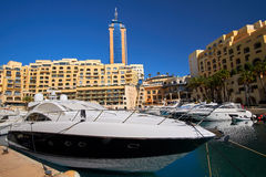 Portomaso, Malta City landscape with boats Stock Photography