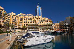 Portomaso, Malta City landscape with boats Royalty Free Stock Images