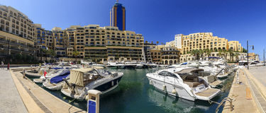 Portomaso Marina, St Julian's, Malta. General vista of Portomaso Luxury complex and Yacht marina, with restaurants, business tower and apartments in St.Julians Stock Images