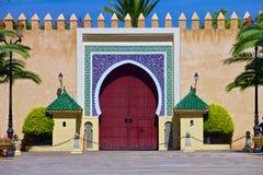 Portone al palazzo del re del Marocco Immagini Stock Libere da Diritti