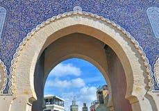 Portone blu, Fes, Marocco fotografie stock