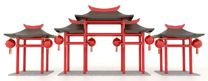Portone cinese semplice del padiglione 3D Immagine Stock Libera da Diritti