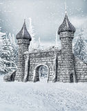 Portone del castello con neve Fotografie Stock