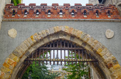 Portone del castello di Vajdahunyad a Budapest, Ungheria Fotografia Stock