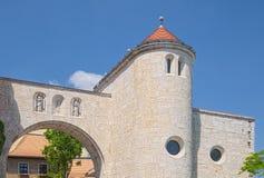 Portone del castello in Veszprem, Ungheria fotografie stock