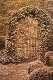 Portone del ferro battuto coperto in edera di effetto di tono di seppia Fotografia Stock Libera da Diritti