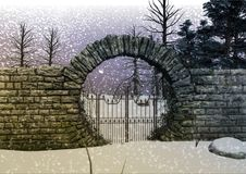 Portone del ` s della foresta della neve di fantasia Fotografia Stock