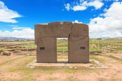 Portone del Sun, rovine di Tiwanaku, Bolivia Immagini Stock Libere da Diritti