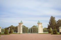 Portone del traliccio e recinto del giardino più basso Oranienbaum Fotografia Stock