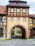 Portone della città in Città Vecchia di Bamberga Immagini Stock