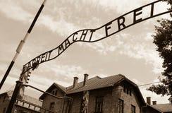 Portone di Auschwitz Fotografia Stock Libera da Diritti
