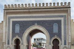 Portone di Bab Bou Jeloud il portone blu situato a Fes fotografia stock libera da diritti
