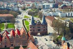Portone di Holstentor nella vecchia città di Lubeck germany Fotografia Stock Libera da Diritti