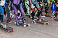 Portone di inizio dell'attrezzatura dei skateboarder fotografia stock libera da diritti