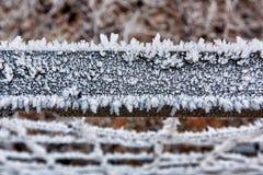 Portone di legno congelato coperto di ghiaccio Fotografie Stock Libere da Diritti