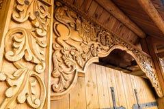 Portone di legno dell'entrata Fotografia Stock