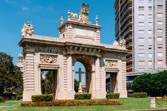 Portone di Plaza de la Puerta Del Mar del quadrato del mare in Valencia City In Spain del centro Immagini Stock Libere da Diritti
