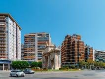 Portone di Plaza de la Puerta Del Mar del quadrato del mare in Valencia City In Spain del centro Immagini Stock