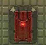 Portone di rinforzo molto sicuro della volta dell'interno della fantascienza con la serratura dello schermo di sicurezza 3d rendo Fotografia Stock