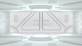 Portone di Scifi nella rappresentazione del fondo 3D di scifi dell'astronave royalty illustrazione gratis