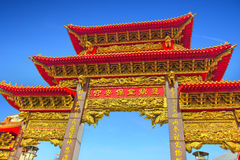 Portone di un tempio cinese a Kaohsiung, Taiwan Fotografia Stock Libera da Diritti
