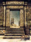 Portone di uscita di una tomba antica illustrazione vettoriale
