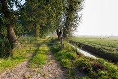 Portone galvanizzato chiuso del ferro in un paesaggio rurale Fotografia Stock Libera da Diritti