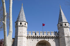 Portone medievale della città Immagini Stock