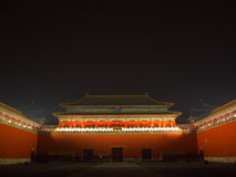 Portone meridiano (Wumen) alla notte con le luci sopra. Fotografie Stock Libere da Diritti