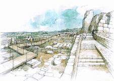 Portone nel parco archeologico Fotografia Stock Libera da Diritti
