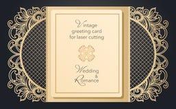 Portone pieghevole della cartolina d'auguri per il taglio del laser Modello delicato per le nozze, un partito romantico Progettaz royalty illustrazione gratis